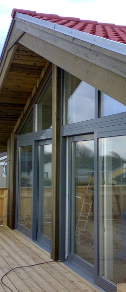 Wooden windows, aluminium clad, terrace system. Detached house. Norway