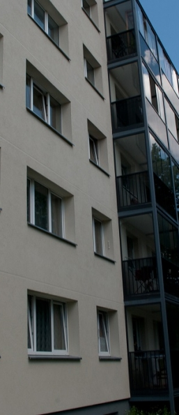 PVC windows. Apartment building. Vilnius, Lithuania